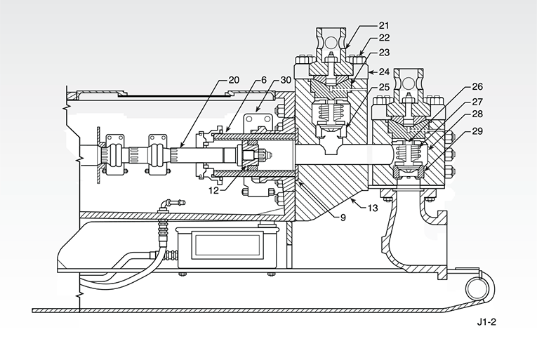 Section view: Single-Acting Mud Pump (A)
