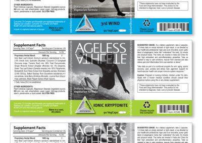 "Packaging: ""Ageless Athlete"" Nutritional Supplements"