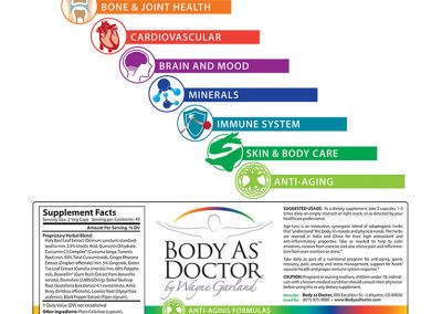 "Packaging: ""Body As Doctor"" Nutritional Supplements Labels"
