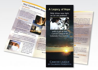 "Fundraising brochure: ""Cancer League of Colorado Foundation"""
