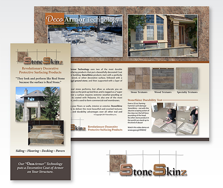 """Trifold brochure: """"StoneSkinz® Protective Products"""""""