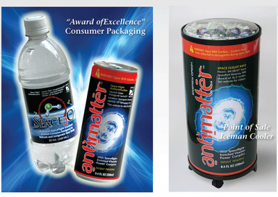 "Award of Excellence: Consumer Packaging ""Space2O and Antimatter"""