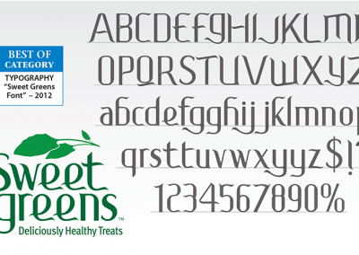 "AWARD / ADGA –  Best Use of TYPOGRAPHY for ""Sweet Greens Font"" 2012"
