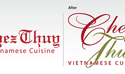"Before & After – Logo Re-design: ""Chez Thuy Restaurant"""