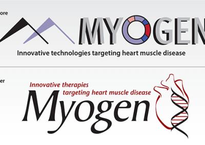 """Before & After logo: """"Myogen, Inc."""""""