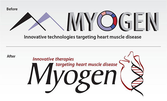 "Before & After logo: ""Myogen, Inc."""