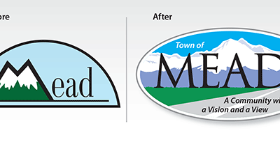 "Before & After Logo: ""The Town of Mead"""