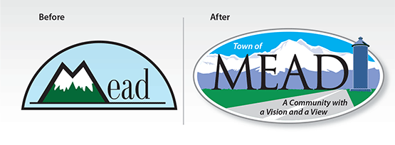"""Before & After Logo: """"The Town of Mead"""""""