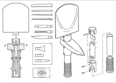 Line Art: Exploded View – Folding Shovel