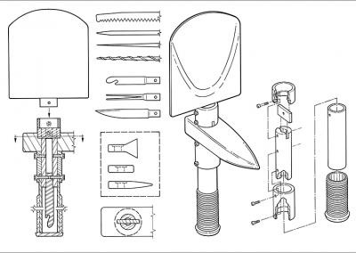 Line Art: Exploded View – Folding Shovel