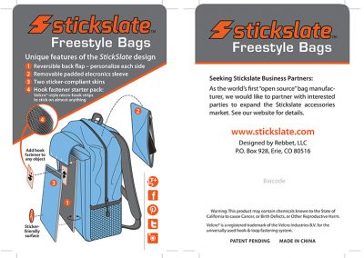 "Packaging / Product Labels: ""Stickslate Backpacks"""