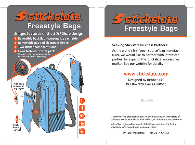 """Packaging / Product Labels: """"Stickslate Backpacks"""""""