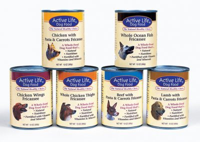 "Packaging / Dog Food Cans: ""Active Life Pet Products"""