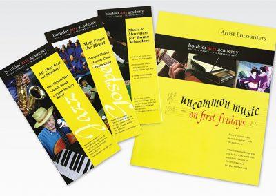 "Brochure Design / Promotional Series: ""Boulder Arts Academy"""