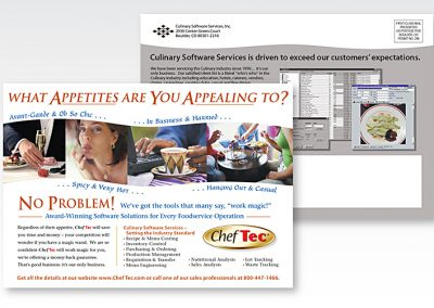 "Print Design / Direct Mail Postcard: ""ChefTec® Software Services"""