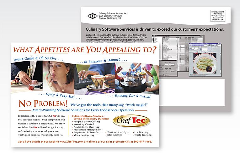"Print Design / Direct Mail Postcard: ""ChefTec® Software Services"""