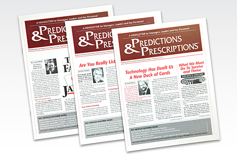 "Newsletter Design / monthly series: ""Predictions and Prescriptions"""