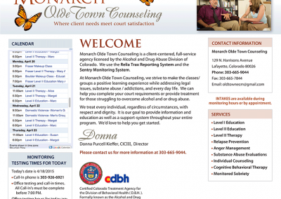 "Web Design: ""Monarch Olde Town Counseling / Addiction Recovery"""