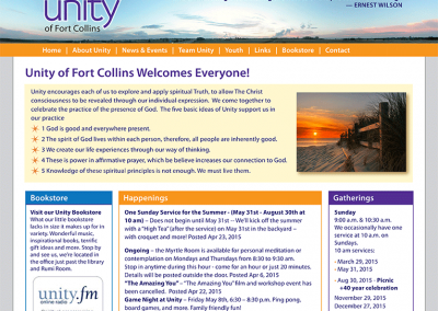 "Web Design: ""Unity Church of Fort Collins"""