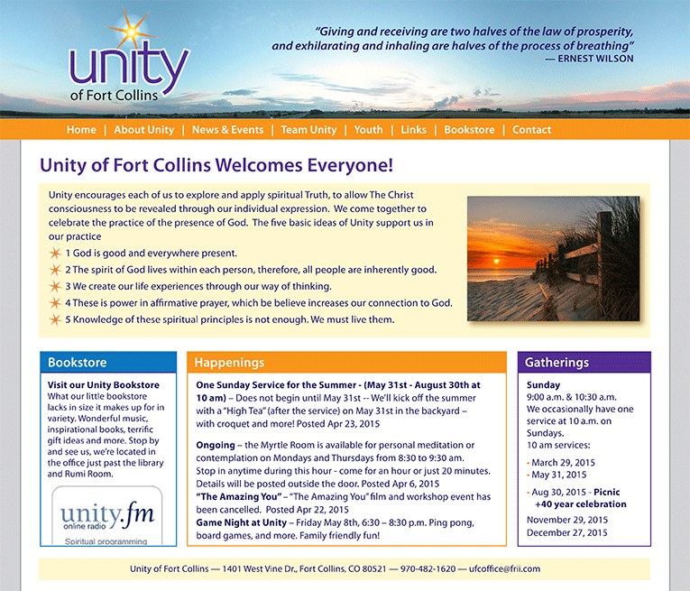 """Web Design: """"Unity Church of Fort Collins"""""""
