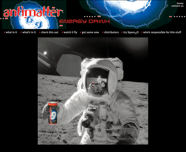 """Web Design: """"Antimatter Energy Drink"""" Beverage"""