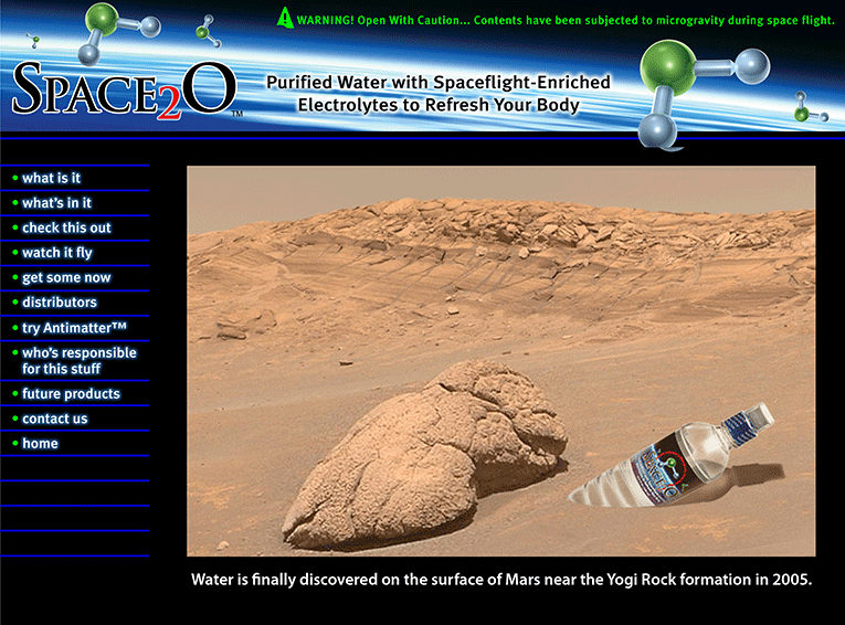 "Web Design: ""Space2O Enriched Water / Beverage"""