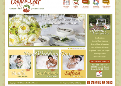 "Web Design: ""Copper Leaf Garden & Event Center"""