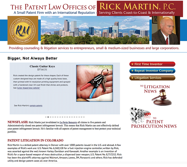 "Web Design: ""Patent Colorado / Rick Martin, PC"""