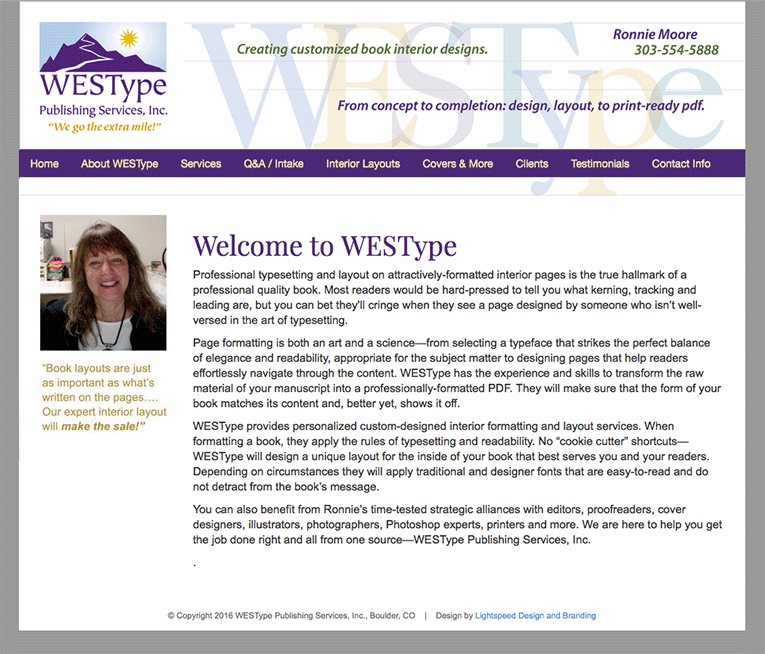 Web Design Westype Book Production Lightspeed Design Branding Group
