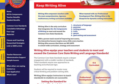 "Web Design: ""Writing Alive / Comprehensive Writing Program"""