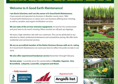 "Web Design: ""A Good Earth Maintenance / Lawn Care"""